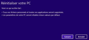 Réinitialiser Windows 8
